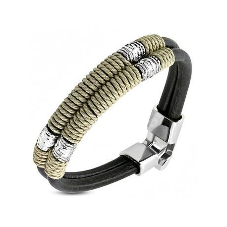 Bracelet Cuir double lien brun bali